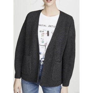 Madewell Open Front Ribbed Wool Blend Cardigan